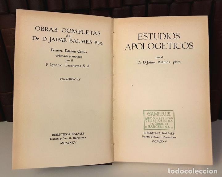 Enciclopedias antiguas: OBRAS COMPLETAS DE JAIME BALMES. 33 TOMOS(VER DESCRIPCIÓN). BIBLIOTECA BALMES.1925/1926. - Foto 3 - 78211569