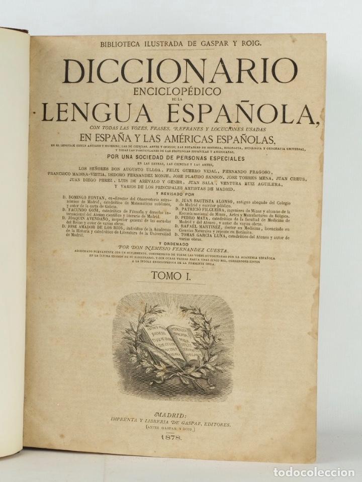 Enciclopedias antiguas: Diccionario enciclopédico de la lengua española-Imprenta y librería de Gaspar, 1878-Tomos I y II - Foto 4 - 91070825