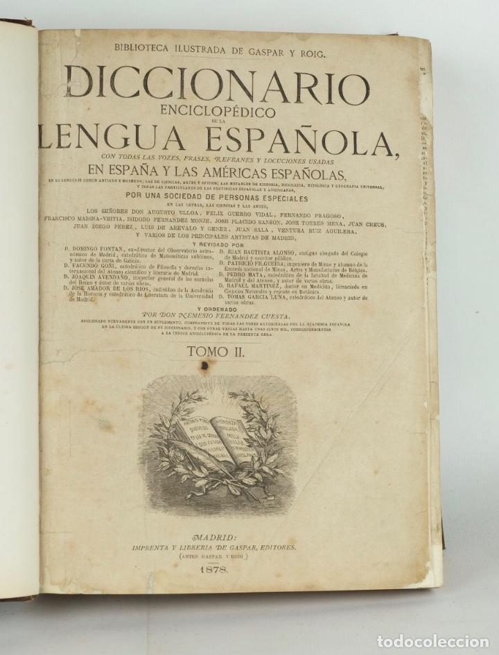Enciclopedias antiguas: Diccionario enciclopédico de la lengua española-Imprenta y librería de Gaspar, 1878-Tomos I y II - Foto 5 - 91070825