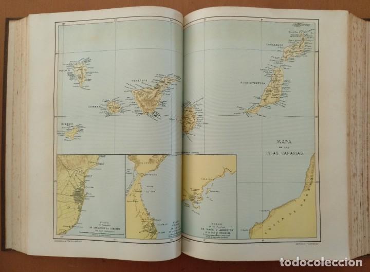 MAPA ISLAS CANARIAS, CALDERAS, CAÑONES Y CUREÑAS, CARCEL MODELO BARCELONA. TOMO IV DICCIONARIO (Libros Antiguos, Raros y Curiosos - Enciclopedias)