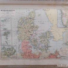 Enciclopedias antiguas: MAPA DINAMARCA Y SUS POSESIONES DICCIONARIO ENCICLOPEDICO HISPANO AMERICANO TOMO VII. Lote 153670918