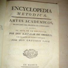 Enciclopedias antiguas: DICCIONARIO DEPORTES SIGLO XVIII. EQUITACIÓN BAILE ESGRIMA NADAR. BALTASAR DE IRURZUN. Lote 182813963