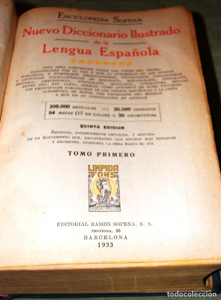 Enciclopedias antiguas: ENCICLOPEDIA SOPENA, NUEVO DICCIONARIO ILUSTRADO DE LA LENGUA ESPAÑOLA. 2 TOMOS, AÑO 1933. - Foto 2 - 191287471