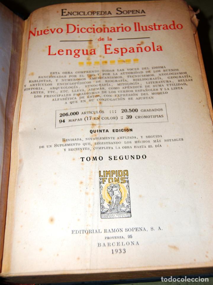 Enciclopedias antiguas: ENCICLOPEDIA SOPENA, NUEVO DICCIONARIO ILUSTRADO DE LA LENGUA ESPAÑOLA. 2 TOMOS, AÑO 1933. - Foto 10 - 191287471