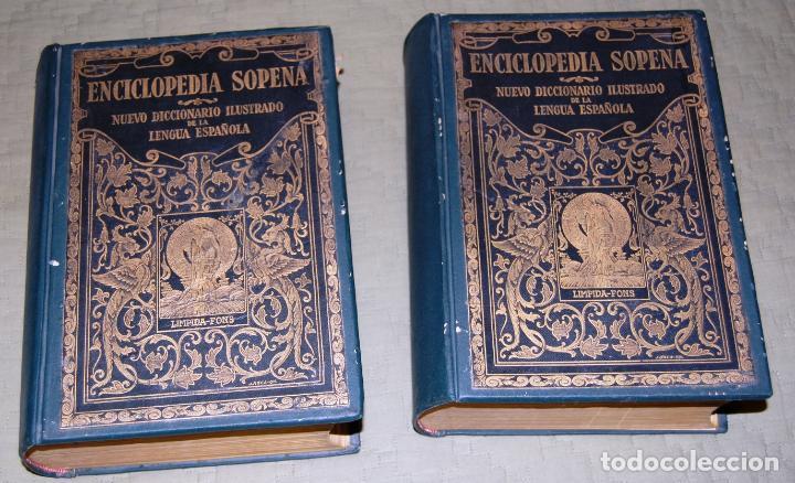 ENCICLOPEDIA SOPENA, NUEVO DICCIONARIO ILUSTRADO DE LA LENGUA ESPAÑOLA. 2 TOMOS, AÑO 1933. (Libros Antiguos, Raros y Curiosos - Enciclopedias)