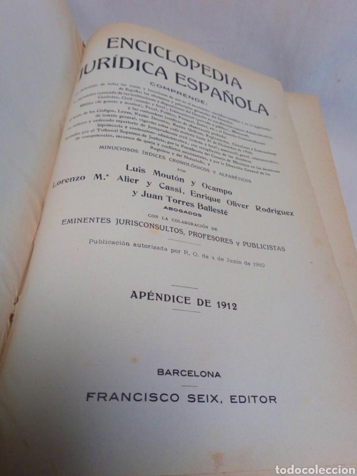 Enciclopedias antiguas: Apéndice enciclopedia jurídica española Francisco Seix editor 1912 - Foto 3 - 197607076
