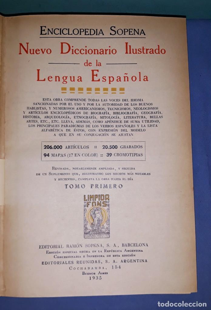 Enciclopedias antiguas: ENCICLOPEDIA SOPENA NUEVO DICCIONARIO ILUSTRADO DE LA LENGUA ESPAÑOLA AÑO 1935 - Foto 2 - 227216450