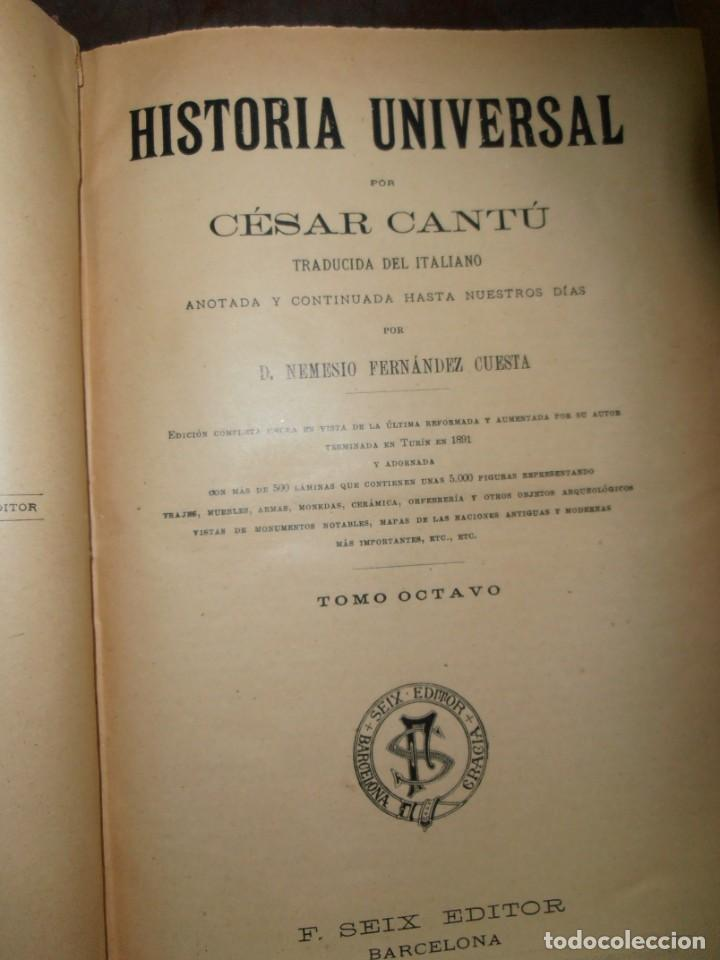 Enciclopedias antiguas: HISTORIA UNIVERSAL, DE CESAR CANTU. FRANCISCO SEIX EDITOR EN 1903 VOLÚMENES 5 / 6 / 7 / 8 - Foto 3 - 215842267