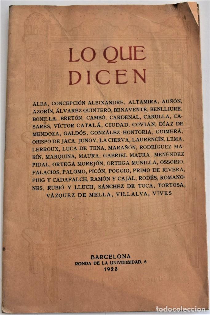 LO QUE DICEN SOBRE EL DICCIONARIO ENCICLOPÉDICO HISPANO-AMERICANO 1923 . UNAMUNO, CAJAL, AZORÍN,... (Libros Antiguos, Raros y Curiosos - Enciclopedias)