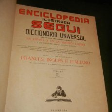 Enciclopedias antiguas: ENCICLOPEDIA ILUSTRADA SEGUI - DICCIONARIO FRANCES-ESPAÑOL TOMO VII E. Lote 222508463