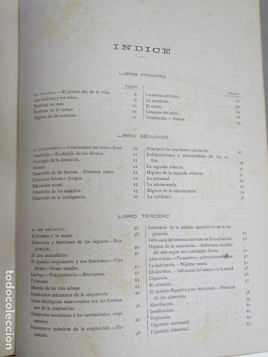Enciclopedias antiguas: LIBRO TOMO ENCICLOPÉDICO SIGLO XIX AÑO 1886. LA VIDA NORMAL Y SALUD. MONTANER Y SIMÓN 366P. 1,4KG - Foto 6 - 254995400