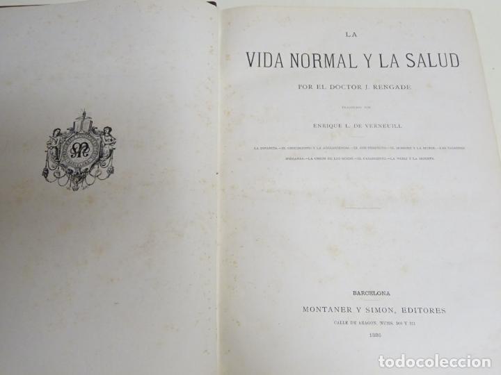 LIBRO TOMO ENCICLOPÉDICO SIGLO XIX AÑO 1886. LA VIDA NORMAL Y SALUD. MONTANER Y SIMÓN 366P. 1,4KG (Libros Antiguos, Raros y Curiosos - Enciclopedias)