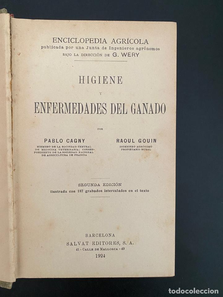 Enciclopedias antiguas: HIGIENE Y ENFERMEDADES DEL GANADO. P. CAGNY & R. GOUIN. ENCICLOPEDIA AGRICOLA SALVAT. BARCELONA,1924 - Foto 3 - 270125363
