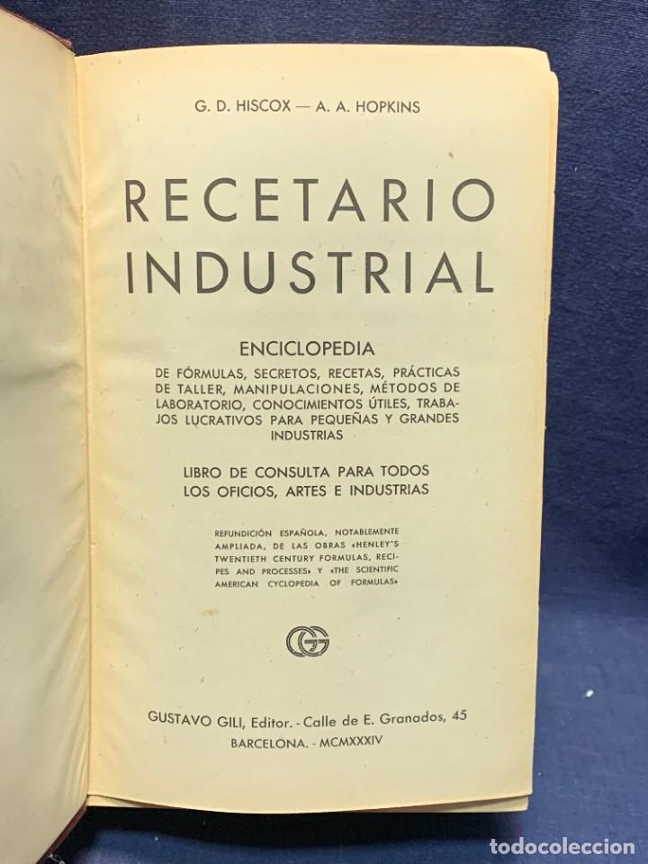 ENCICLOPEDIA RECETARIO INDUSTRIAL HISCOX HOPKINS GUSTAVO GILI 1934 23X16X7CMS (Libros Antiguos, Raros y Curiosos - Enciclopedias)