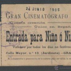 Entradas de Cine : ENTRADA CINE GRAN CINEMATÓGRAFO A. - 24 JUNIO 1906 - JARDINETS DE GRÀCIA - BARCELONA. Lote 52696173