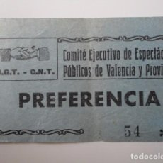 Entradas de Cine : VALENCIA. UGT CNT. COMITE PROVINCIAL ESPECTACULOS PÚBLICOS. ENTRADA CINE PREFERENCIA. Lote 67645485