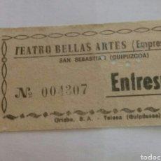 Entradas de Cine : ENTRADA TEATRO BELLAS ARTES. TOLOSA. AÑOS 70. Lote 85208443
