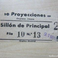Entradas de Cine : ENTRADA DEL CINE PROYECCIONES DE MADRID SILLÓN DE PRINCIPAL AÑOS 40. Lote 90266900