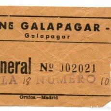 Entradas de Cine : ENTRADA DE CINE GALAPAGAR AÑOS 50. Lote 91353640