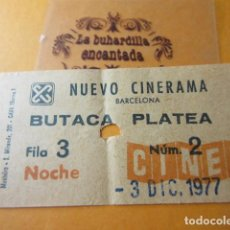Entradas de Cine : CINE NUEVO CINERAMA - NOCHE - LA GUERRA DE LAS GALAXIAS 3/12/1977 VER FOTOS DATOS INTERIOR STAR WARS. Lote 92286175