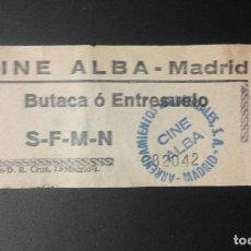 Entradas de Cine : .1 ENTRADA DEL ** CINE ALBA ** - MADRID - USADA - CALLE DUQUE DE ALBA, 4 - AÑOS 60?. Lote 95729007
