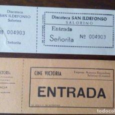 Entradas de Cine : PAREJA DE ENTRADAS PARA CINE Y DISCOTECA DE SALORINO, CÁCERES. YA DESAPARECIDOS.. Lote 102308207