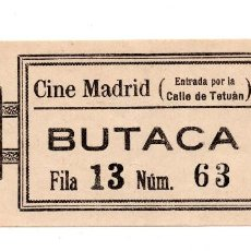 Entradas de Cine : ENTRADA DE CINE - CINE MADRID, CALLE TETUAN . BUTACA - 1928. Lote 103605719