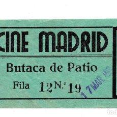 Entradas de Cine : ENTRADA DE CINE - CINE MADRID, . BUTACA DE PATIO. Lote 103606631