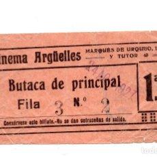 Entradas de Cine : ENTRADA DE CINE - CINEMA ARGËLLES - BUTACA DE PRINCIPAL - 1927. Lote 103607259