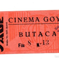Entradas de Cine : ENTRADA DE CINE - CINE GOYA - BUTACA - 31 DE DICIEMBRE. Lote 103608155