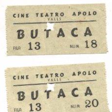 Entradas de Cine : ENTRADA BUTACA CINE TEATRO APOLO DE VALLS TARRAGONA ENTRADAS CORRELATIVAS AÑO 1951. Lote 103696847