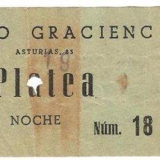 Entradas de Cine : ENTRADA INVITACION NOCHE DE CINE ORFEO GRACIENC PLATEA FILA 0 BARRIO GRACIA BARCELONA AÑOS 50. Lote 103827007