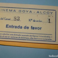 Entradas de Cine : ANTIGUO TALONARIO CARNET DE 30 ENTRADAS DEL CINEMA GOYA DE ALCOY - AÑO 1960-70S.. Lote 108321567