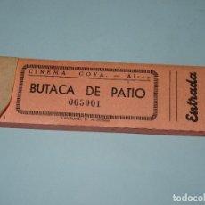 Entradas de Cine : ANTIGUO TALONARIO DE 100 ENTRADAS BUTACA DE PATIO DEL CINEMA GOYA DE ALCOY - AÑO 1960-70S.. Lote 108321811