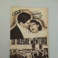 Entradas de Cine : CINE. PROGRAMA DE MANO. LA ALEGRE MENTIRA. TORELLO. PUBLICIDAD EN CATALA. AÑOS 30.. Lote 115274224