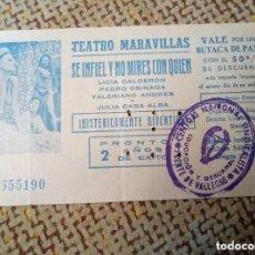 Entradas de Cine : ENTRADA CINE MADRID AÑOS 60 70 TEATRO MARAVILLAS SE INFIEL Y NO MIRES CON QUIEN. Lote 115635479