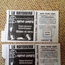 Entradas de Cine : ENTRADA NUEVO TEATRO CÓMICO DELICIAS LA RATONERA AGATHA CHRISTIE AÑOS 70 LOTE 2 ENTRADAS. Lote 115635771