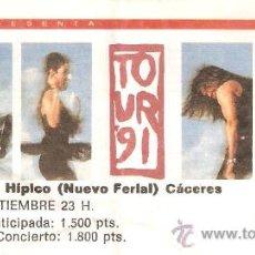Entradas de Conciertos: ENTRADA MECANO-TOUR 91-13 SEPTIEMBRE CACERES. Lote 27066217