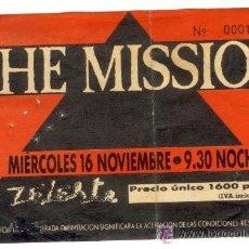Entradas de Conciertos: ENTRADA MÍTICO CONCIERTO THE MISSION - SALA ZELESTE - 1988 -¡¡ENTRADA Nº 14!!! PLASTIFICADA!!. Lote 25516388