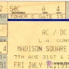 Entradas de Conciertos: AC/DC ENTRADA MITICO CONCIERTO MADISON SQUARE GARDEN 12 JULIO 1991 - INENCONTRABLE!!! PLASTIFICADA!. Lote 36146936