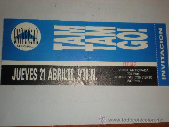 ENTRADA DE CONCIERTO TICKET DE TAM TAM GO! 1988 (Música - Entradas)