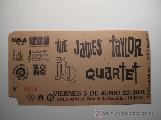 ENTRADA CONCIERTO THE JAMES TAYLOR QUARTET EN SALA APOLO BARCELONA