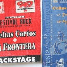 Entradas de Conciertos: ENTRADA CONCIERTO MUSICA CELTAS CORTOS LA FRONTERA + PASE BACKSTAGE 1996 VALENCIA. Lote 31339136