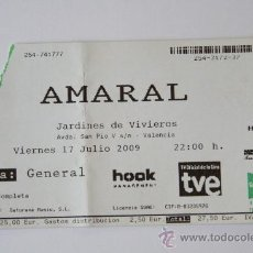 Entradas de Conciertos: ENTRADA CONCIERTO MUSICA AMARAL 2009 VALENCIA. Lote 31366028