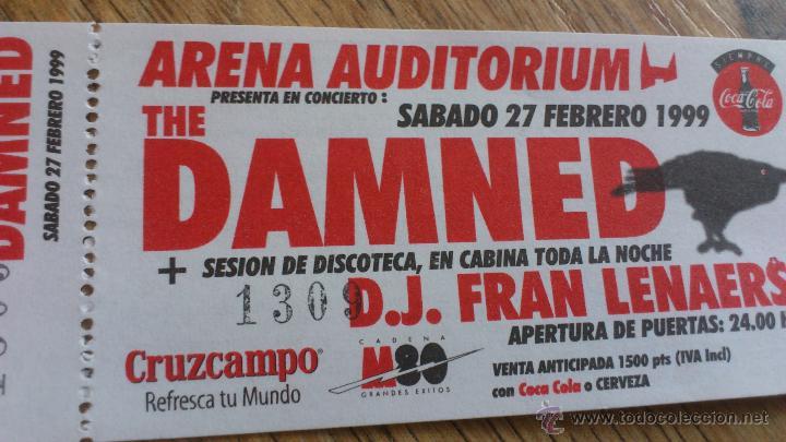 Entradas de Conciertos: Entrada original Concierto The damned Arena auditorium Valencia - Foto 2 - 43833424