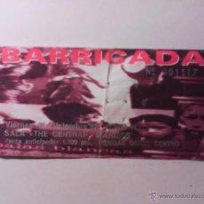Entradas de Conciertos: BARRICADA, ENTRADA CONCIERTO DE MANISES 11/12/1992. Lote 44786043