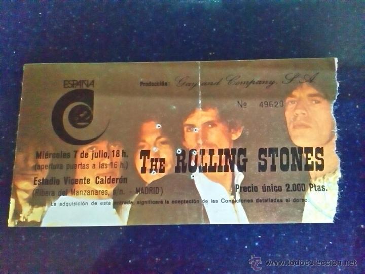 1982-ENTRADA HISTÓRICO CONCIERTO ROLLING STONES EN EL VICENTE CALDERÓN-MADRID-7 JULIO 1982-ORIGINAL (Música - Entradas)