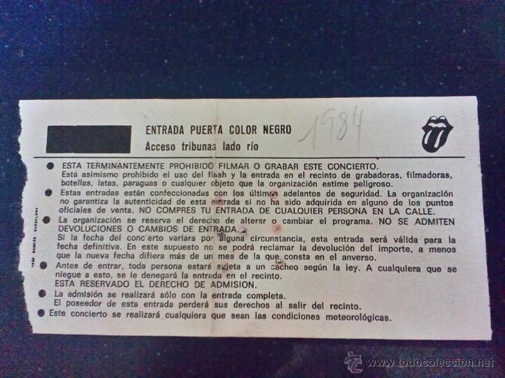Entradas de Conciertos: 1982-ENTRADA HISTÓRICO CONCIERTO ROLLING STONES EN EL VICENTE CALDERÓN-MADRID-7 JULIO 1982-ORIGINAL - Foto 3 - 46501794