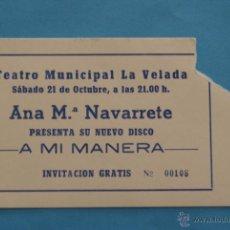 Entradas de Conciertos: ENTRADA DE:CONCIERTO MUSICAL,ANA Mª NAVARRETE. Lote 48997013