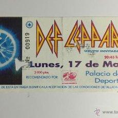 Entradas de Conciertos: ENTRADA CONCIERTO DEF LEPPARD, 17 MAYO 1993, PALACIO DE LOS DEPORTES BARCELONA.. Lote 58081476